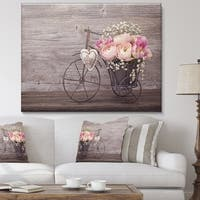 Ranunculus Flowers in Bicycle Vase' Floral Canvas Artwork Print - Grey