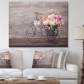 Ranunculus Flowers in Bicycle Vase' Floral Canvas Artwork Print