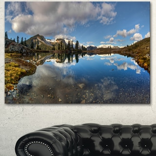 Designart 'Clear Lake with Pine Trees Panorama' Extra Large Landscape Art Canvas
