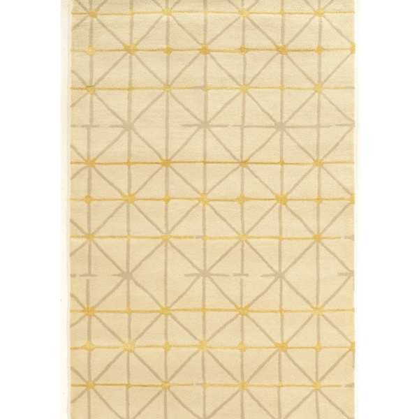 "Hand Tufted Aspire Wool Pane Ivory/Grey Wool Rug (1'10"" X 2'10"")"