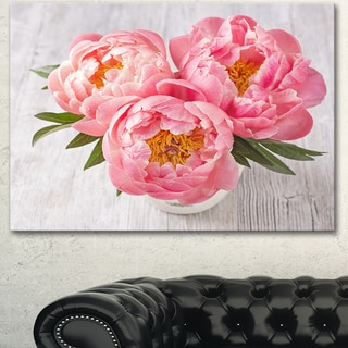 Designart 'Peony Flowers on White Floor' Floral Canvas Artwork Print
