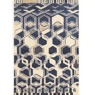 "Hand Tufted Aspire Wool Impose Ivory/Navy Wool Rug (1'10"" X 2'10"")"