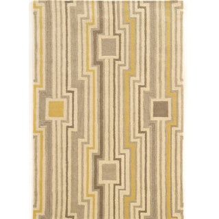 "Hand Tufted Asprie Wool Board Grey/Yellow Wool Rug (1'10"" X 2'10"")"