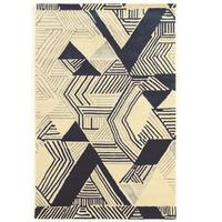 "Hand Tufted Aspire Wool Hatch Ivory/Navy Wool Rug (1'10"" X 2'10"") - 1'10"" x 2'10"""