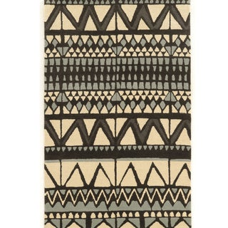 "Hand Tufted AspireWool Comp Ivory/Grey Wool Rug (1'10"" X 2'10"")"