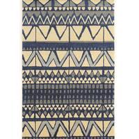 "Hand Tufted Aspire Wool Comp Ivory/Blue Wool Rug (1'10"" X 2'10"")"