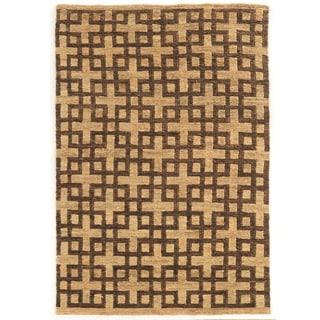 Woven Soumak Beige/Brown Hemp Rug (2' x 3')