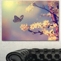 Designart 'Vintage Butterfly with Flowers' Modern Flower Canvas Wall Artwork - White