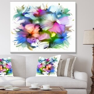 DesignArt 'Watercolor Floral Bouquet' Extra Large Floral Wall Art - Blue