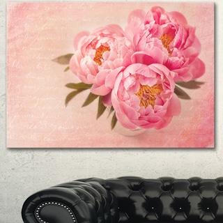 Designart 'Peony Flowers against Scribbled Back' Floral Canvas Artwork Print - Pink