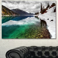 Designart 'Clear Lake Pine Trees and Mountains' Extra Large Landscape Art Canvas