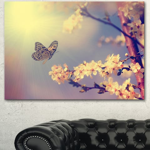 Designart 'Vintage Butterfly and Cherry Tree' Modern Flower Canvas Wall Artwork Print - White
