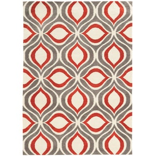 Tufted GEO 06 GREY/RED Polyester Rug (2' X 3')