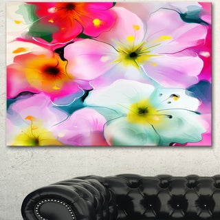 Designart 'Colorful Watercolor Floral Pattern' Extra Large Floral Wall Art