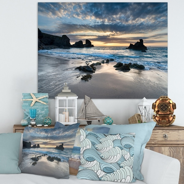 Designart 'Beautiful Porthcothan Bay' Modern Seashore Canvas Wall Art Print - Blue. Opens flyout.