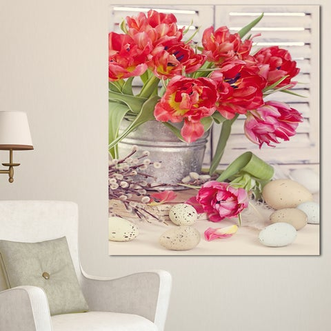 Designart 'Tulip Flowers and Easter Eggs' Floral Canvas Artwork Print - Red