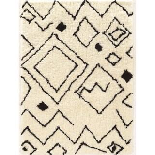 Tufted Morocco Shag Damascus ivory black Polyester Rug (2' X 3')