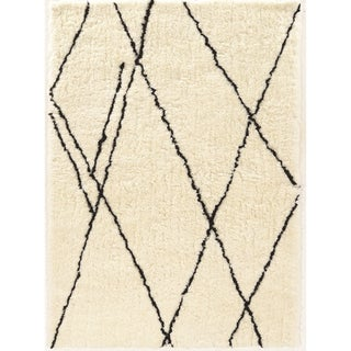 Tufted Morocco Shag Markesh ivory black Polyester Rug (2' X 3')