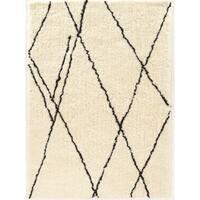 Tufted Morocco Shag Markesh ivory black Polyester Rug (2' X 3')