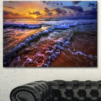 Designart 'Sunset over Blue Tinged Waves' Seashore Canvas Artwork Print