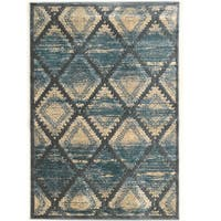 PowerLoomed Platinum Santa Fe Blue Cream Polyester Rug (8' X 11')
