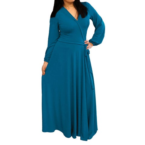 Solid-color Long-sleeve V-neck Maxi Dress