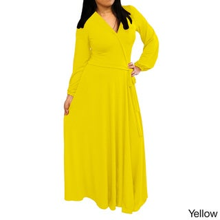Solid-color Long-sleeve V-neck Maxi Dress