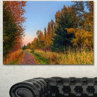 Designart 'Road Through Fall Forest' Extra Large Landscape Art Canvas - Orange