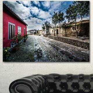 Designart 'Beautiful Milis Street Sardinia' Landscape Wall Artwork Canvas