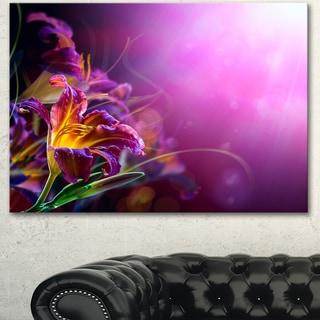 Designart 'Flowers on Purple Background' Floral Canvas Artwork Print
