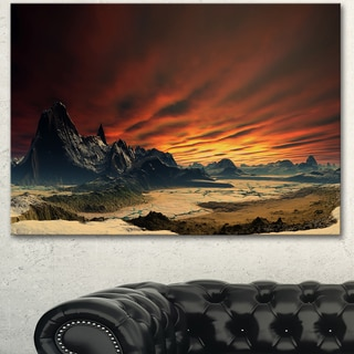 Designart 'Beautiful Alien Planet Traos' Landscape Wall Artwork Canvas - Red