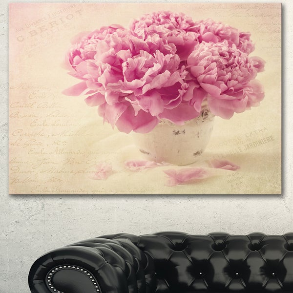 Designart 'Bunch of Peony Flowers on Table' Floral Canvas Artwork Print - Pink