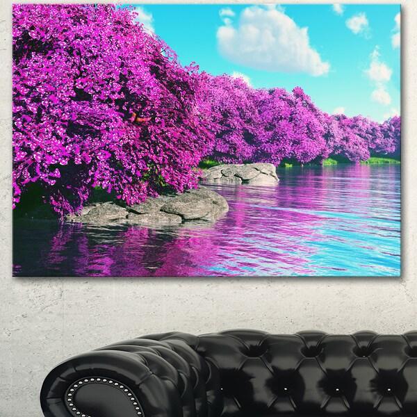 Designart 'Beautiful Row of Cherry Blossoms' Landscape Wall Artwork Canvas - Purple
