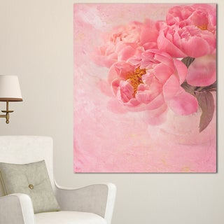 Designart 'Peony Flowers on Pink Background' Floral Canvas Artwork Print