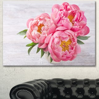 Designart 'Bunch of Peony Flowers In Vase' Floral Canvas Artwork Print - Pink