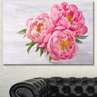 Designart 'Bunch of Peony Flowers In Vase' Floral Canvas Artwork Print