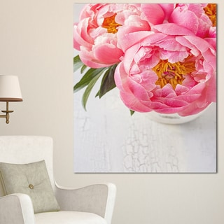 Designart 'Full Bloom Pink Peony Flowers ' Floral Canvas Artwork Print