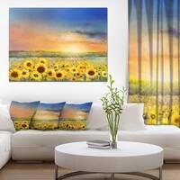 Sunset over Golden Sunflower Field' Flower Canvas Print Artwork - GOLD