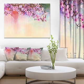 Watercolor Painting Cherry Blossoms' Flower Canvas Print Artwork - Purple