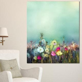 Designart 'Dandelion Poppy and Daisy Flowers ' Flower Canvas Print Artwork - Blue