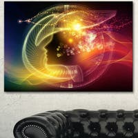 Designart 'Illuminating Human Head Fractal ' Abstract Canvas Wall Art Print