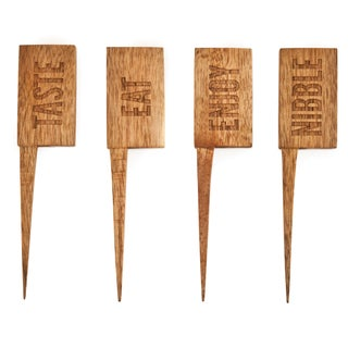 True 3505R Country Home Wooden Cheese Markers Assorted 4 Count