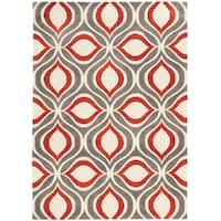 Tufted GEO 06 GREY/RED Polyester Rug - 8' X 10'