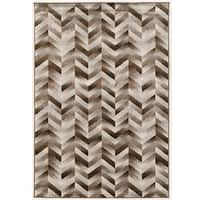 PowerLoomed Roma Patchwork Chevron Brown Polypropylene Rug - 8' X 10'3""