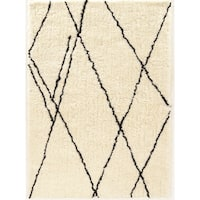 Tufted Morocco Shag Markesh ivory/black Polyester Rug (8' X 10'))