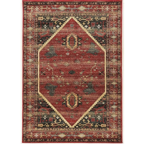 """Hexagon Red and Black 5' x 7'6"""" Area Rug - 5' x7'6"""""""