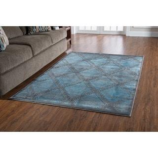 "PowerLoomed Platinum Santa Fe Blue Black Polyester Rug (5' X 7'6"")"