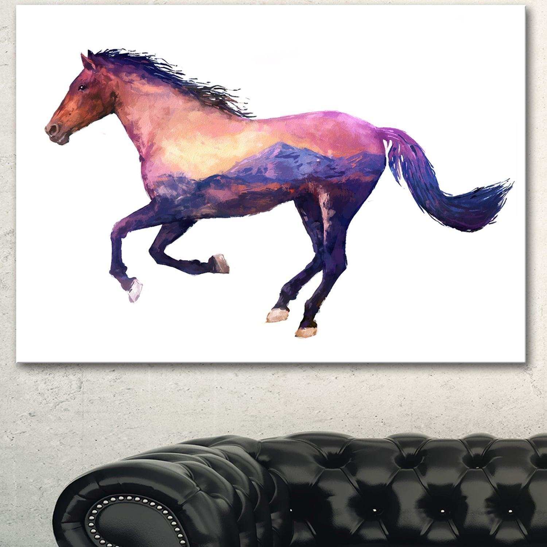Designart Horse Double Exposure Illustration Large Animal Canvas Wall Art Print Brown Overstock 13177840