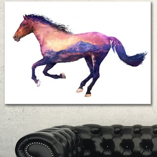 Designart 'Horse Double Exposure Illustration' Large Animal Canvas Wall Art Print - Brown