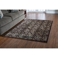 "PowerLoomed Platinum Iron Gate Brown Beige Polyester Rug (5' X 7'6"")"